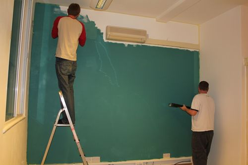 Painting the feature wall